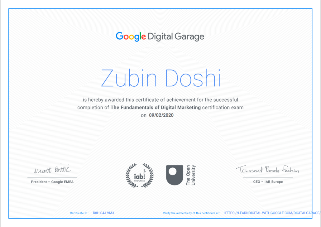 Fundamentals of Digital Marketing (Google Digital Garage)